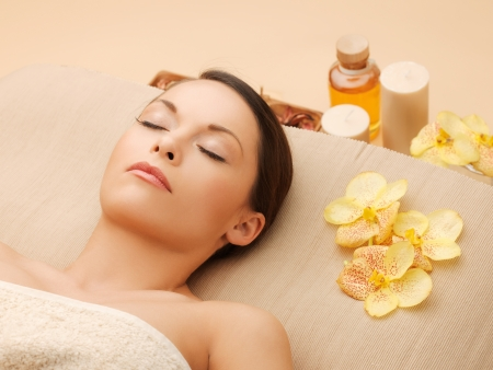 picture of woman in spa salon lying on the massage desk Stock Photo - 18803794