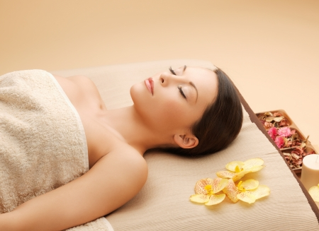 picture of woman in spa salon lying on the massage desk Stock Photo - 18803796
