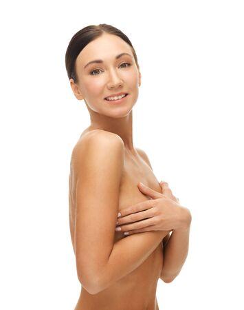 nice breast: portrait of beautiful woman holding her breast Stock Photo