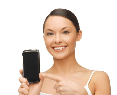 pointing device: beautiful woman pointing at smartphone with sport app Stock Photo