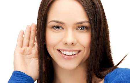 tattle: bright picture of happy woman listening gossip