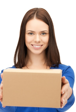picture of attractive businesswoman delivering box   photo
