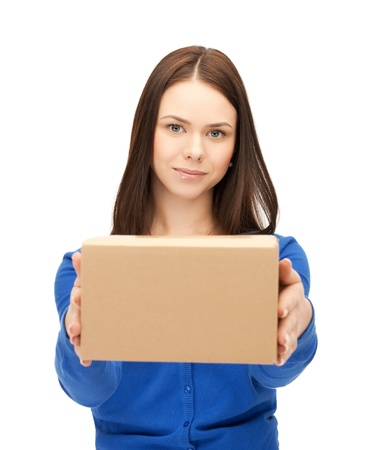order shipment: picture of attractive businesswoman delivering box