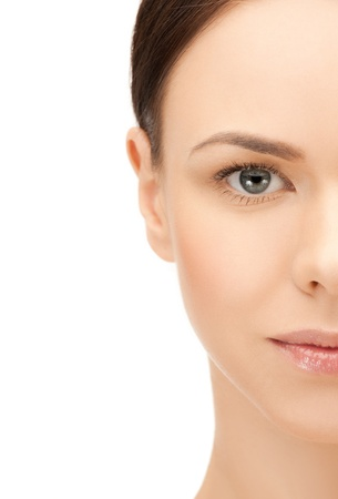 half face: portrait of half face of beautiful woman Stock Photo