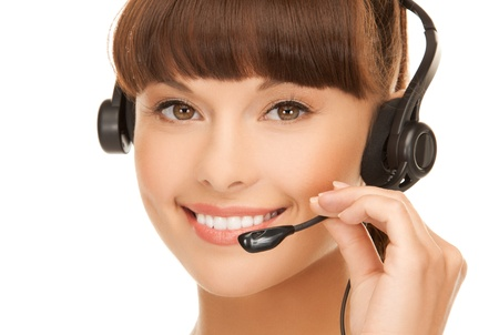 picture of friendly female helpline operator with headphones Stock Photo - 19001253