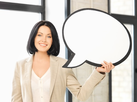 picture of smiling businesswoman with blank text bubble photo