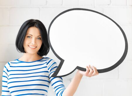 university text: picture of smiling student with blank text bubble
