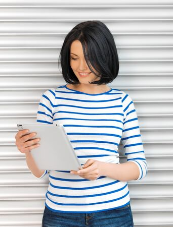 simple girl: picture of student girl with tablet pc