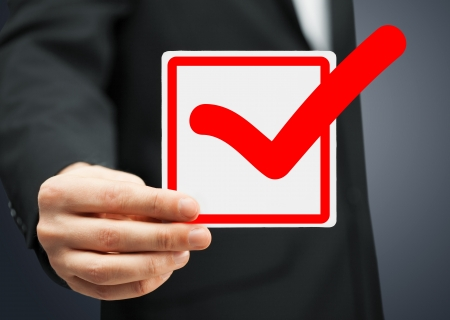 picture or closeup of checkbox and red mark in it photo