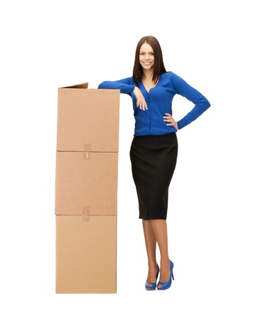 picture of attractive businesswoman with big carton boxes Stock Photo - 19097312