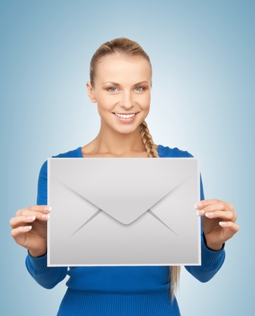 electronical: picture of smiling woman showing virtual envelope