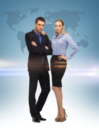 picture of businesswoman and businessman and world map photo