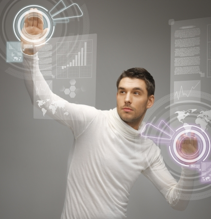 sci fi: picture of futuristic man working with virtual screens Stock Photo
