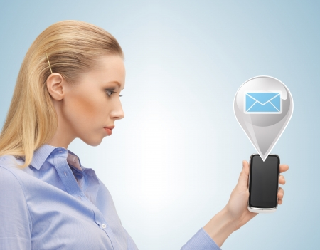 businesswoman with phone and virtual text bubble photo