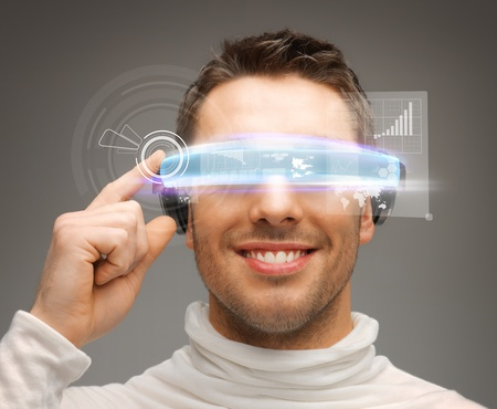 reality: picture of handsome businessman with digital glasses Stock Photo