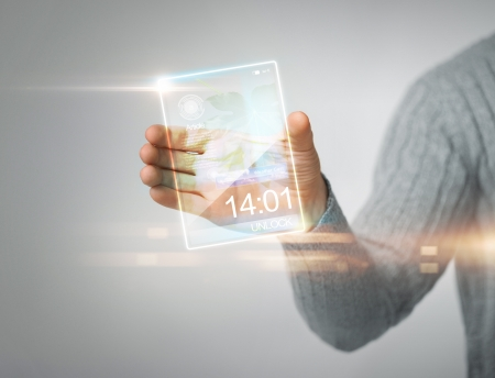 close up of man holding transparent phone Stock Photo - 19146328