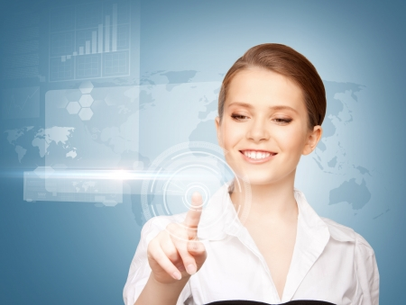 international network: picture of attractive businesswoman touching virtual screen