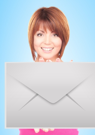 picture of smiling woman showing virtual envelope photo