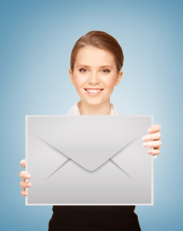 confirmation: picture of smiling girl showing virtual envelope