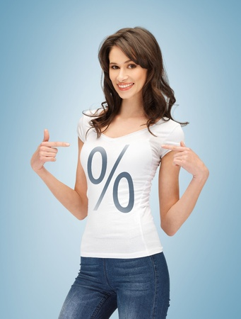 t off: picture of smiling woman pointing at percent sign