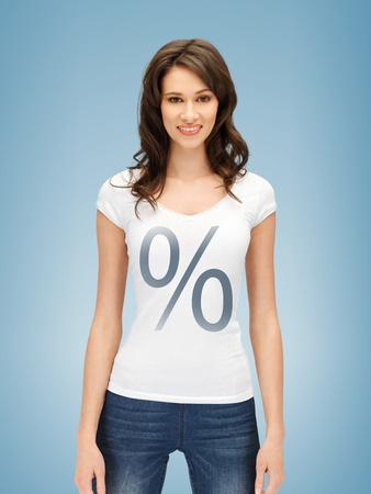 t off: picture of smiling woman in shirt with percent sign