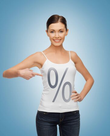 picture of smiling woman pointing at percent sign photo