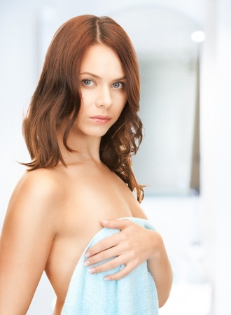 bare women: bright picture of lovely woman in towel