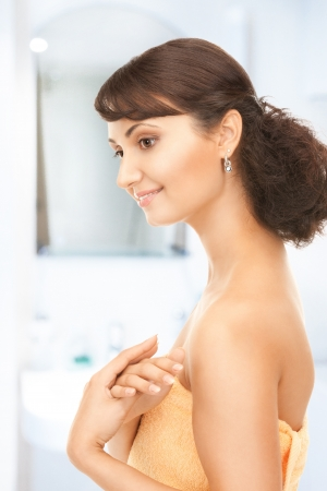 bright picture of lovely woman in towel Stock Photo - 19207303
