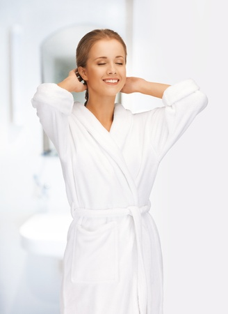 picture of beautiful woman in white bathrobe Stock Photo