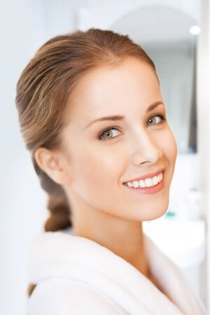 picture of beautiful woman in white bathrobe Stock Photo - 19207135