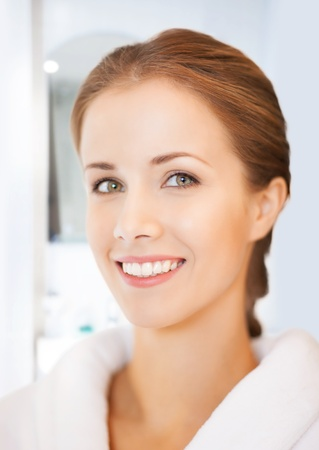 picture of beautiful woman in white bathrobe Stock Photo - 19207171