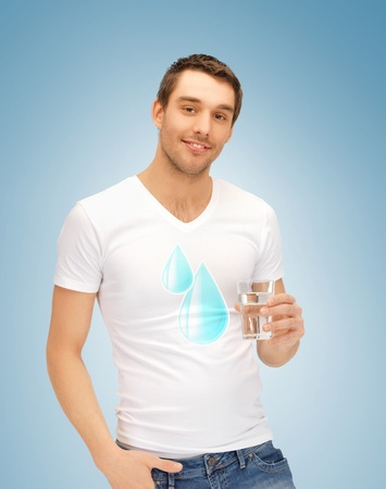 caucasian water drops: man in shirt with blue water drops