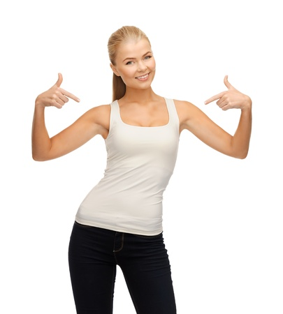 woman pointing: happy woman in blank white t-shirt pointing at herself Stock Photo