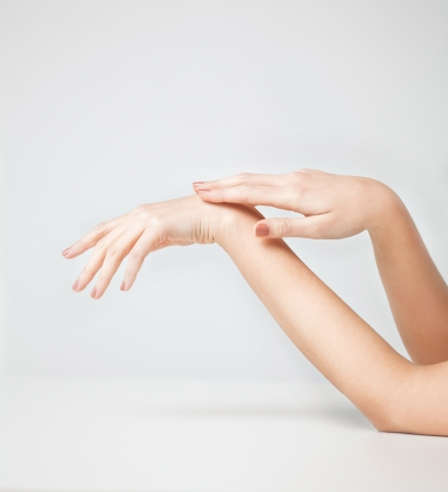 handcare: close up of female soft skin hands Stock Photo