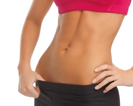 abs: close up picture of woman trained abs Stock Photo