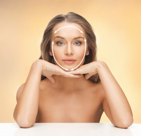 aging face: picture of beautiful woman ready for cosmetic surgery Stock Photo
