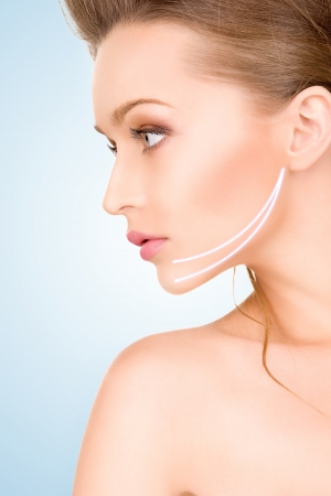 Aging woman: picture of beautiful woman ready for cosmetic surgery Stock Photo