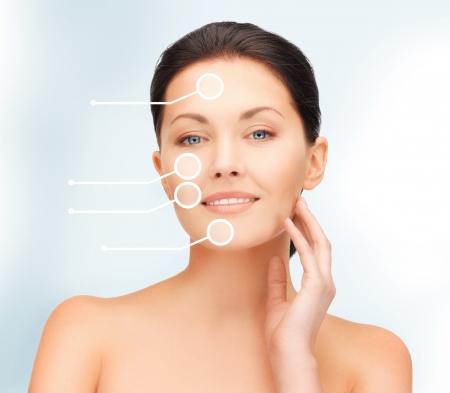 tratamiento facial: Primer plano de imagen brillante retrato de una mujer hermosa