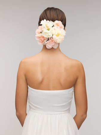 bridesmaids: close up of woman with flowers in her head  Stock Photo