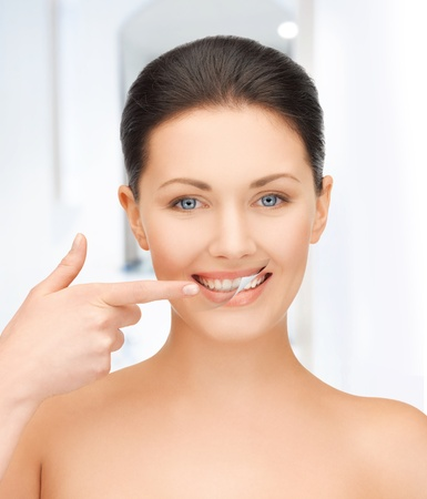 model nice: picture of beautiful woman with white teeth Stock Photo