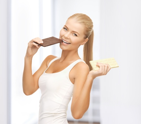 whole body: picture of smiling woman with dark and white chocolates