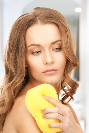 bright picture of beautiful woman with sponge Stock Photo - 19363461