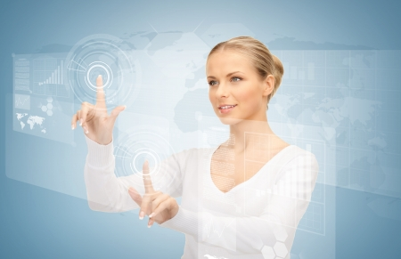 bue: picture of attractive businesswoman touching virtual screen