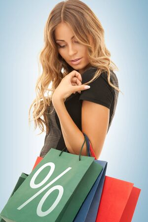 picture of beautiful woman with shopping bags Stock Photo - 19347231