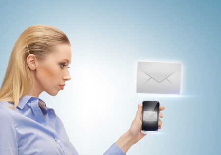 close up of woman holding phone with sign of sms Stock Photo - 19347201