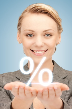 picture of woman showing sign of percent in her hands Stock Photo - 19347249