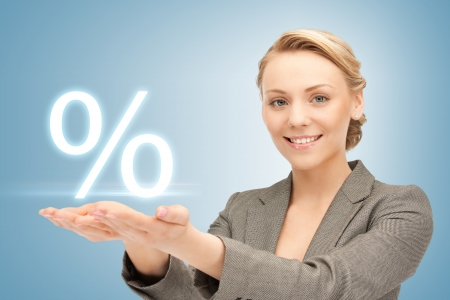 picture of woman showing sign of percent in her hands Stock Photo - 19347224