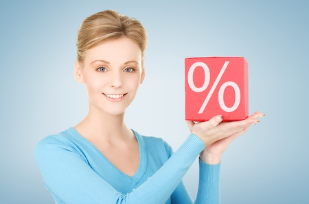 picture of handsome woman with big percent box photo