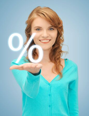 picture of girl showing sign of percent in her hand Stock Photo - 19347263