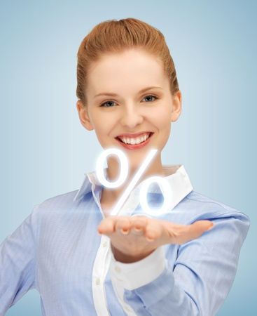 picture of woman showing sign of percent in her hand Stock Photo - 19347235